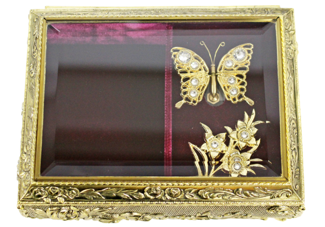 DY760 アンチモニーBOXオルゴール蝶々【ゴールド】