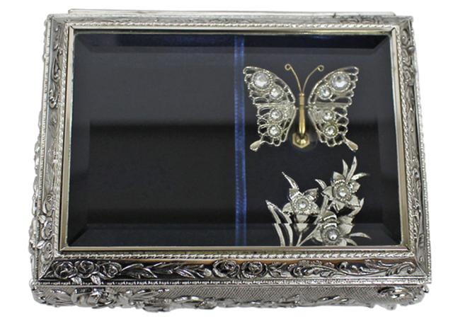 DY760 アンチモニーBOXオルゴール蝶々【シルバー】