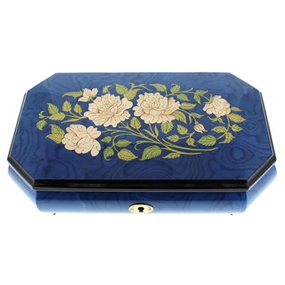 23N イタリア製 象嵌宝石箱オルゴール/620RL/ブルー