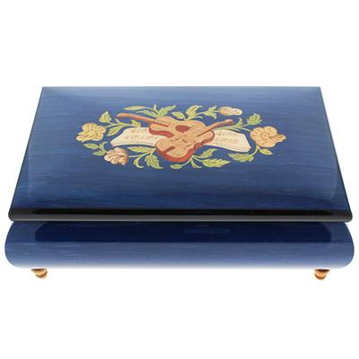 23N イタリア製 象嵌宝石箱オルゴール/420ML/ブルー