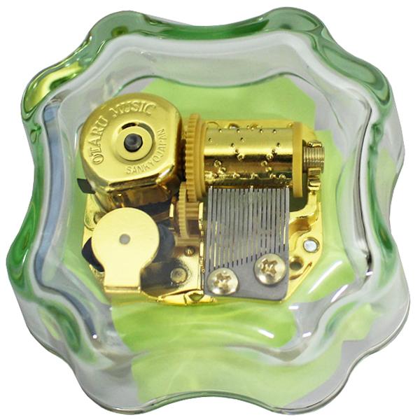 クローバー型ガラスベースオルゴール