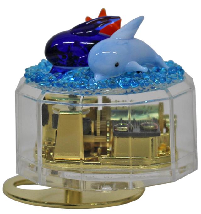☆数量限定☆クリアケース手作りオルゴールキット【イルカ2頭】