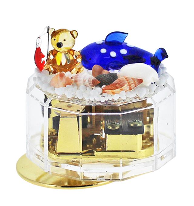 ☆限定1個☆クリアケースオルゴール【魚釣りクマとジンベイザメ ブルー】