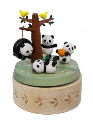 H9115 木製オルゴール【遊ぶパンダ】