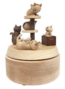 H9101 木製オルゴール【ネコ】