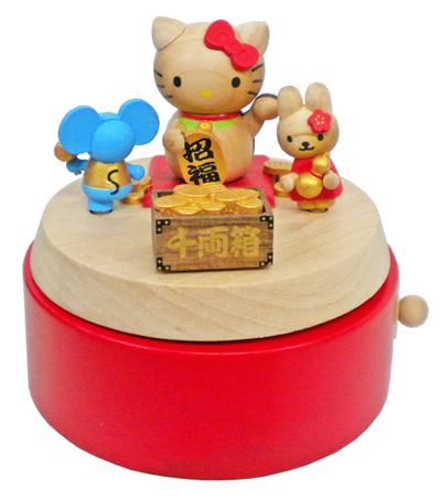 H9151 木製オルゴール【キティ 縁起物】