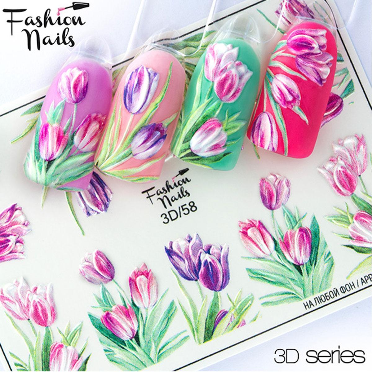 タトゥー ネイルシール スライダー 3Dデザイン 3D #58 春ネイル チューリップ 22973