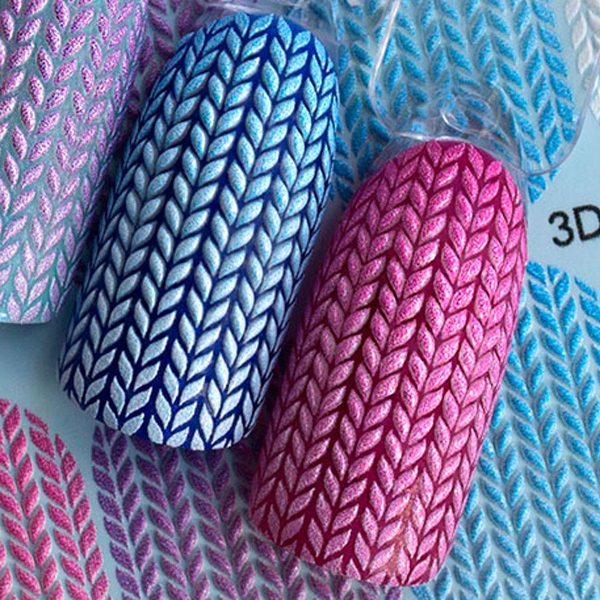 タトゥーネイルシール スライダー 3Dデザイン 3D #44 冬ネイル セルフネイル ニット マニキュア 26873