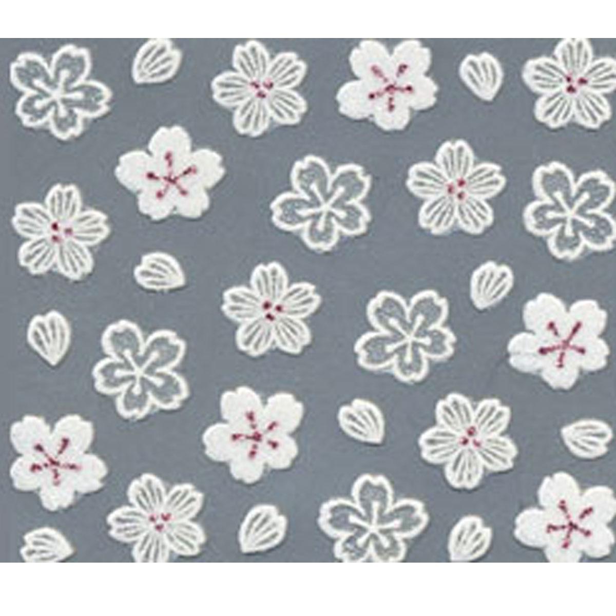 bibi deco ネイルシール bi-149W 切り絵桜 ホワイト 春ネイル マニキュア セルフネイル ネイルデザイン