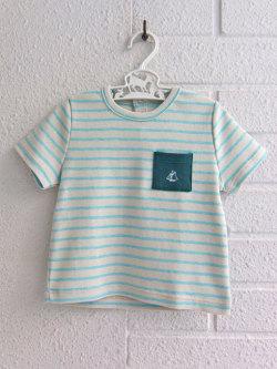 935799c6c8d17 フランス子供服 PETIT BATEAU プチバトー ポケット付きボーダー半袖Tシャツ
