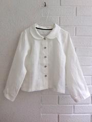 207a4f9e62f51 [Uniform]le vestiaire de jeanne キッズ・リネン丸襟長袖ブラウス(ホワイト) [6才]