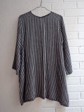le vestiaire de cle Flared dress, long sleeves,dark stripes linen ダークストライプ長袖リネンワンピース