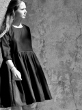 LE VESTIAIRE DE JEANNE LE VESTIAIRE DE CLE VDJ, Pleated dress,  long sleeves, black wool blend
