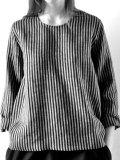 LE VESTIAIRE DE JEANNE LE VESTIAIRE DE CLE VDJ, Uniform blouse long sleeves, dark stripes linen