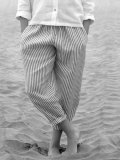 LE VESTIAIRE DE JEANNE LE VESTIAIRE DE CLE  Uniform trousers, light stripes linen  ストライプリネンロングパンツ