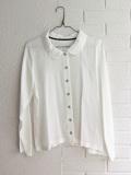 LE VESTIAIRE DE JEANNE LE VESTIAIRE DE CLE VDJ Robe manteau Long sleeves shirt white silk 丸襟シルクシャツ