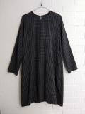 LE VESTIAIRE DE JEANNE LE VESTIAIRE DE CLE VDJ, Flared dress, long sleeves gingham wool blend ギンガムチェックワンピース