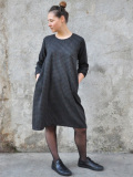 LE VESTIAIRE DE JEANNE LE VESTIAIRE DE CLE VDJ, Flared dress, long sleeves gingham wool blend ギンガムチェックワンピース