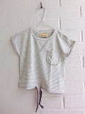 イタリア子供服 OLIVE オリーブ 肩ボタン細ボーダー半袖Tシャツ
