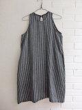 LE VESTIAIRE DE JEANNE Uniform Flared dress, sleeveless,dark stripes linen ダークストライプノースリーブフレアワンピース