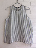LE VESTIAIRE DE JEANNE LE VESTIAIRE DE CLE Uniform Sleeveless blouse,light stripes linen ストライプノースリーブリネンブラウス