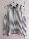 LE VESTIAIRE DE JEANNE LE VESTIAIRE DE CLE Uniform Sleeveless blouse,light stripes linen ストライプノースリーブリネンブラウス
