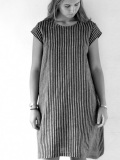 le vestiaire de jeanne Uniform flared dress, short sleeves, dark stripes linen  リネンストライプフレンチスリーブワンピース