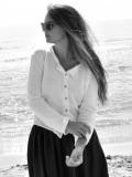 le vestiaire de jeanne Uniform cardigan, white cotton knit コットンニット長袖カーディガン