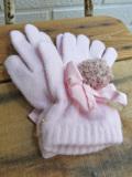 イタリア老舗帽子ブランド GREVI グレヴィ リボン付きポンポングローブ 5本指手袋