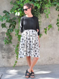 Le vestiaire de jeanne VDJ  bicolor pleated dress long sleeves black and polka dots linen バイカラー長袖リネンワンピース