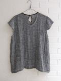 le vestiaire de jeanne Uniform short sleeves blouse, wrinkled linen リネンフレンチスリーブブラウス