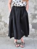 Le vestiaire de jeanne VDJ circular skirt black linen サーキュラースカート