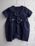イタリア子供服 OLIVE ベビー セーラー風リネンロンパース