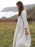 Le vestiaire de jeanne VDJ Long pleated dress long sleeves natural linen リネン長袖ギャザーロングワンピース