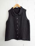 Le vestiaire de jeanne VDJ Sleeveless shirt black linen 丸襟リネンノースリーブブラウス