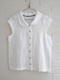 Le vestiaire de jeanne VDJ Short sleeves shirt white linen 丸襟リネンフレンチスリーブブラウス