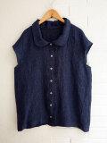 Le vestiaire de jeanne VDJ Short sleeves shirt indigo linen  インディゴリネン丸襟フレンチスリーブブラウス