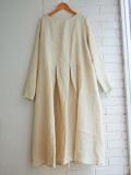 Le vestiaire de jeanne VDJ Long sleeves pleated dress natural linen リネン長袖タックロングワンピース