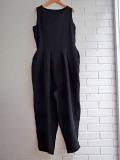 Le vestiaire de jeanne VDJ Sleeveless pleated jumpsuit black linen リネンノースリーブジャンプスーツ