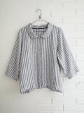 Le vestiaire de jeanne VDJ 3/4 sleeves shirt 七分袖ストライプリネン丸襟シャツ