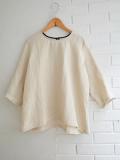 Le vestiaire de jeanne VDJ 3/4 sleeves blouse, round neck nartural linen リネン七分袖ブラウス