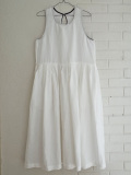 Le vestiaire de jeanne VDJ Long pleated dress, sleeveless, linen  リネンノースリーブギャザーワンピース