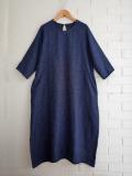 Le vestiaire de jeanne VDJ Long dress sleeveless round neck indigo linen リネンフレアロングワンピース