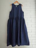 Le vestiaire de jeanne VDJ Long pleated dress sleeveless low waist indigo linen リネンノースリーブギャザーワンピース