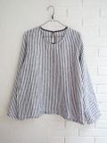 le vestiaire de jeanne Uniform long sleeves blouse, light stripes linen ストライプリネン長袖ブラウス