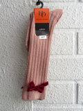 フランス老舗靴下ブランド DOREDORE ドレドレ リボン付きラメリブハイソックス