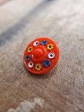 パリ蚤の市 クリニャンクールのデッドストックアクセサリー 3色小花手塗りガラスボタン