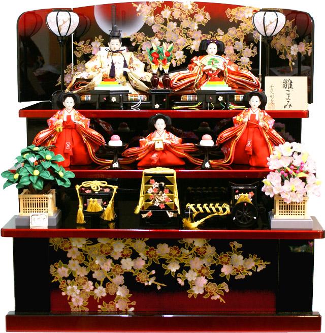 【雛人形】 千匠作 「雛ごよみ」 三段 収納飾り(45A-34)