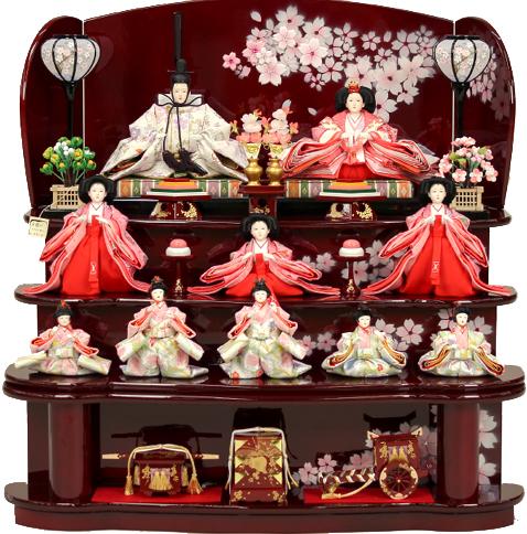 【雛人形】 千匠作 十人「雛ごよみ」 三段飾り(46A-18)