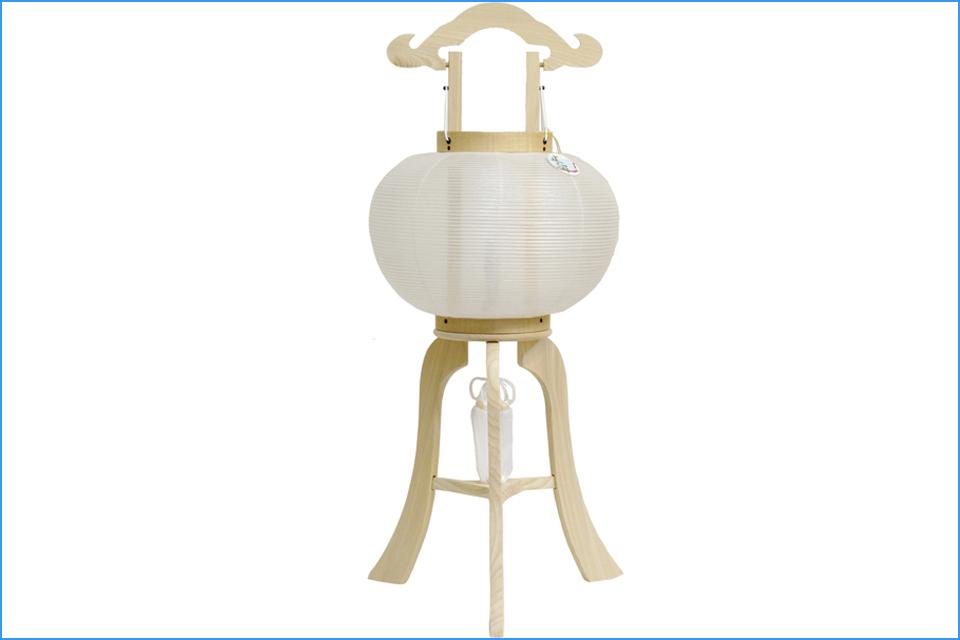 新盆用 盆提灯 柾 10号 絹 白無地 LED (8449-10-003)送料無料